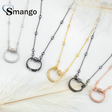 3Pieces, Women Fashion Shape of Round Connectors CZ Prong Setting Necklace, Four Plating Colors,Can Mix