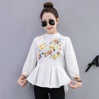 2018 Vadim Female Blouse Cotton Office Lady Floral Embroider Mandarin Collar Three Quarter Lantern Sleeve Loose Women Shirt