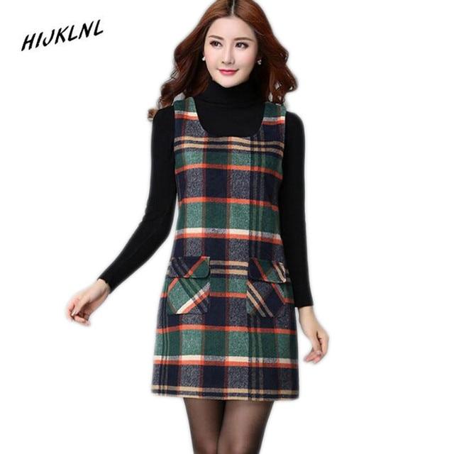 HIJKLNL Women's dresses winter women 's plaid vest plus size dress primer slim sleeveless wool vest dresses for women JX150