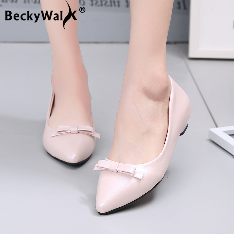 Bow Thick Heels Shoes Women Summer Professional Ladies Shoes Shallow Mouth Work Shoes Woman Casual Low Heels Pumps WSH3178