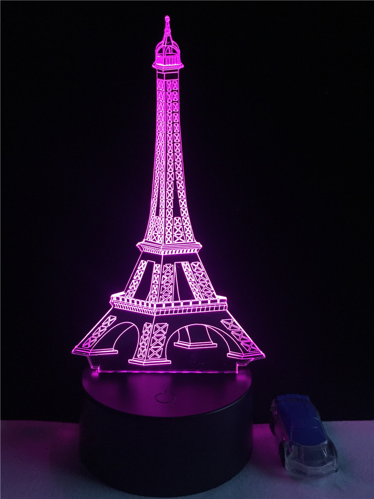 GAOPIN Romantic Eiffel Tower Decorative Lighting Cable Party Atmosphere Night Light 3D LED USB Multicolor Table Lamp Lovely Gift