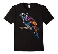 Fashion Classic Short Printing Machine Sparrow Tropical Bird T Shirt O Neck Mens T Shirts Loose