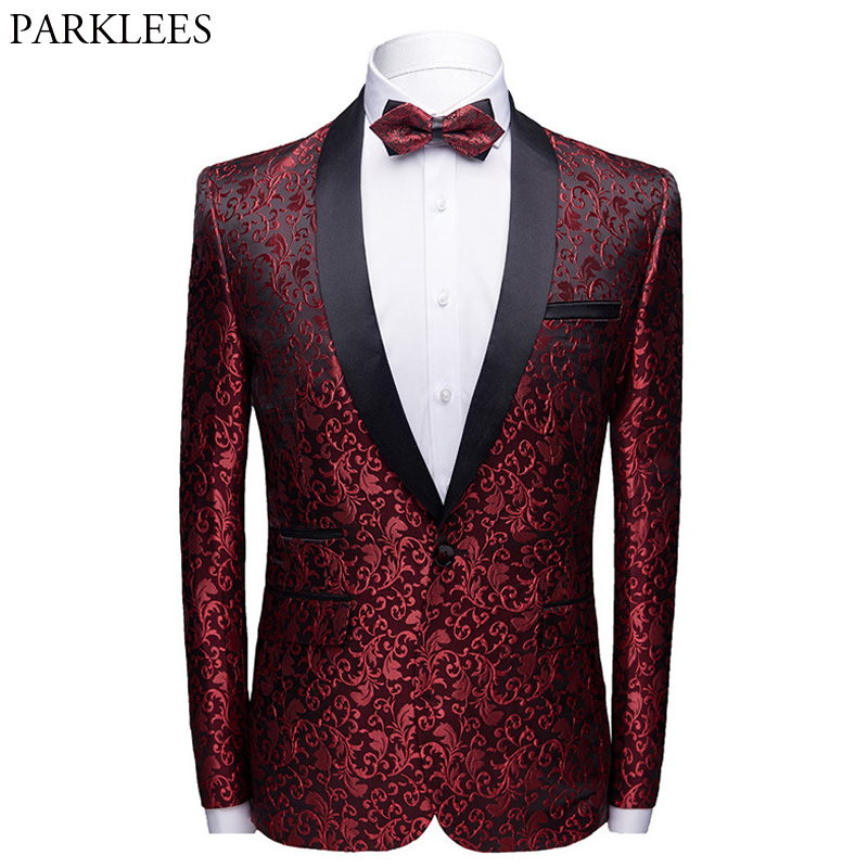 Wine Red Floral Jacquard One Button Suit Jacket Male Shawl Collar Slim Fit Mens Blazers Party Wedding Prom Tuxedo Blazer Hombre