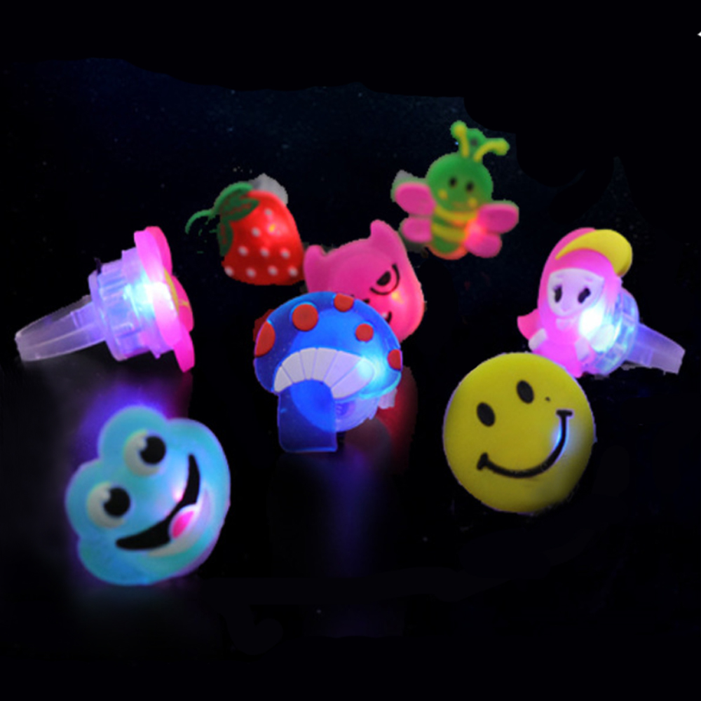 50PCS Cute Kids Boys Girls Fruit Style LED Light Up Flashing Glowing Luminous Finger Rings Toy for Halloween Party Favors Supply50PCS Cute Kids Boys Girls Fruit Style LED Light Up Flashing Glowing Luminous Finger Rings Toy for Halloween Party Favors Supply