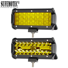 цены 4'' 7 Inch Led Off road Light Barra For ATV Trucks Motorcycle 4x4 12V Combo Beam Amber Yellow Work Driving Lights Bar Fog Lamp