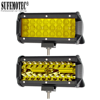 4'' 7 Inch Led Off road Light Barra For ATV Trucks Motorcycle 4x4 12V Combo Beam Amber Yellow Work Driving Lights Bar Fog Lamp 1pcs 4 7 9 inch 35w 12v dhs hid xenon driving work fog light spotlight off road with lens cover