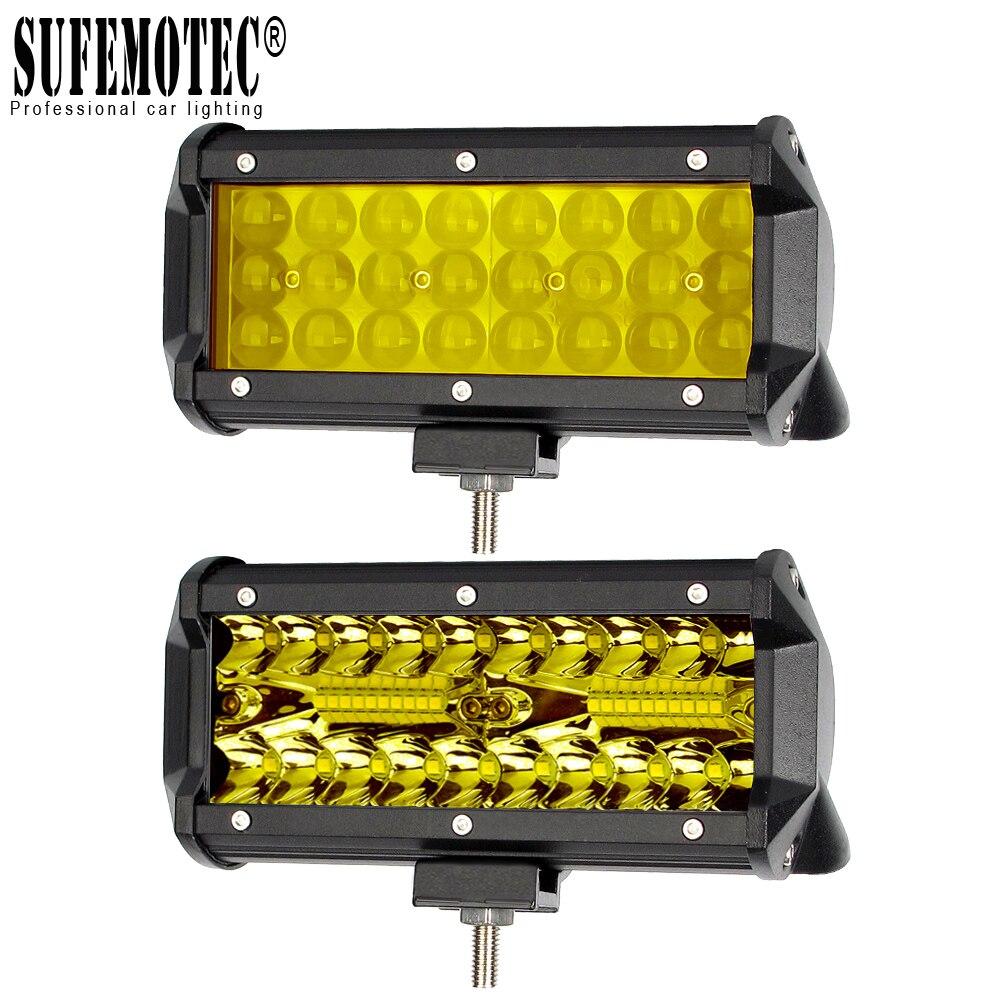 4'' 7 Inch Led Off road Light Barra For ATV Trucks Motorcycle 4x4 12V Combo Beam Amber Yellow Work Driving Lights Bar Fog Lamp