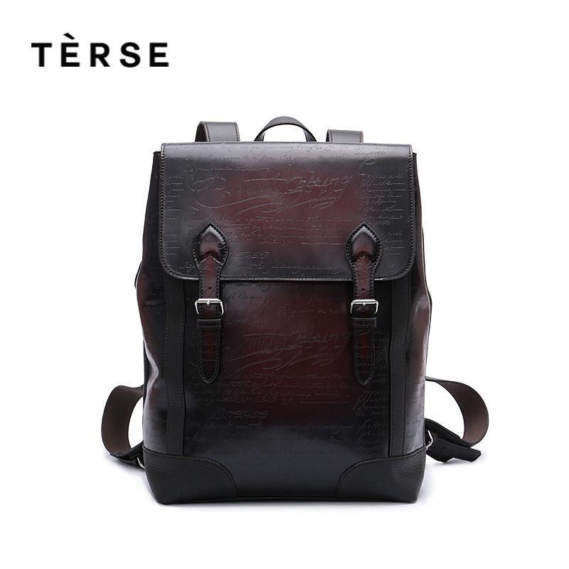 TERSE 2018 New Arrival Handmade genuine leather backpack high quality backpack engraving luxury bag in burgundy for men/ women