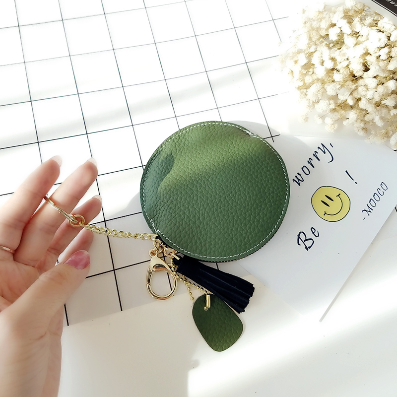 Top New Tassel Coin Purse Genuine Leather Wallet Key Chain Zipper Multifunction Round Bag Mini Cute Wallets Women Monedero