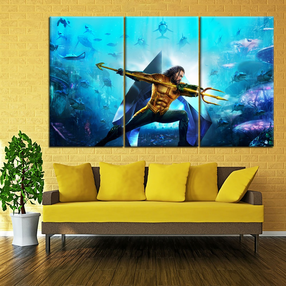 Canvas Painting Living Room Art Framework 1 Panel Movie Aquaman Poster Modern HD Printed Type Wall Decoration Pictures in Painting Calligraphy from Home Garden