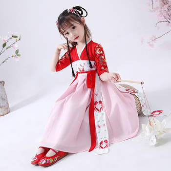 Hanfu Costumes Girls Chinese Style Tang Suit Kids Chinese Ancient Traditional Clothes Folk Dance Dress Hanfu Dress DQL559