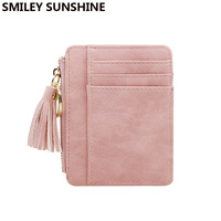 SMILEY SUNSHINE Nubuck Leather Mini Tassel Women   Wallets   and Purses Cute Credit Card Ladies   Wallets   Female Change Coin Purses