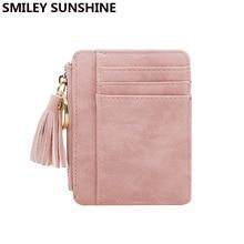 SMILEY SUNSHINE Nubuck Leather Mini Tassel Women Wallets and Purses Cute Credit