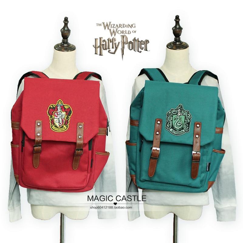 Toile 4 couleurs Harry Potter Souvenirs sac à dos gryffondor Slytherin symbole sacs cartable pour fille garçon hommes rouge vert