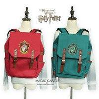 canvas 4 colors Harry Potter Souvenirs backpack Gryffindor Slytherin Symbol Bags schoolbag for girl boy men red green