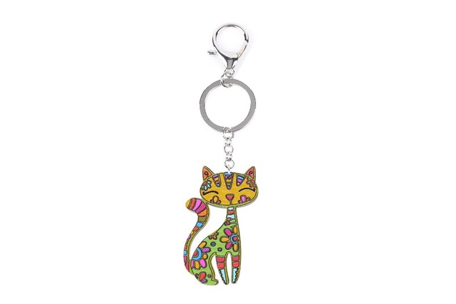 Floral Patterned Cat Shaped Keychains