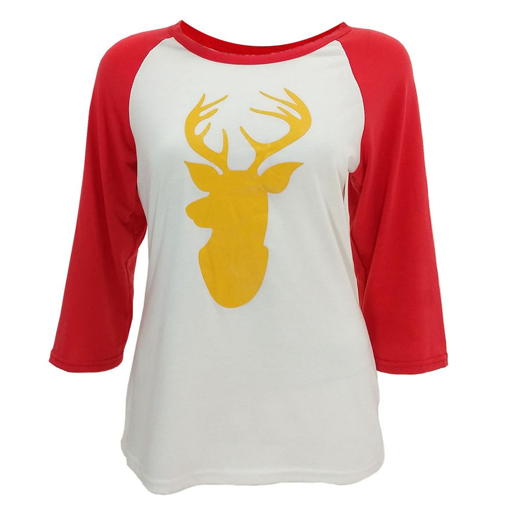 Lovely Ladies Deer Printed Shirt Women Patchwork Fashion Christmas Elk Round Collar Cotton Long Sleeve Casual Tops(Black,Red)