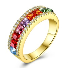 Lady 925 Sterling Silver Ring Fine Jewelry S925 Silver Rings for Women Fashion Brand Colorful Crystals Finger Wears Golden Ring