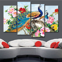 4 Pcs Colorful Peacock Canvas Painting Prints Modern Abstract Landscape Painting On The Wall Modular Painting