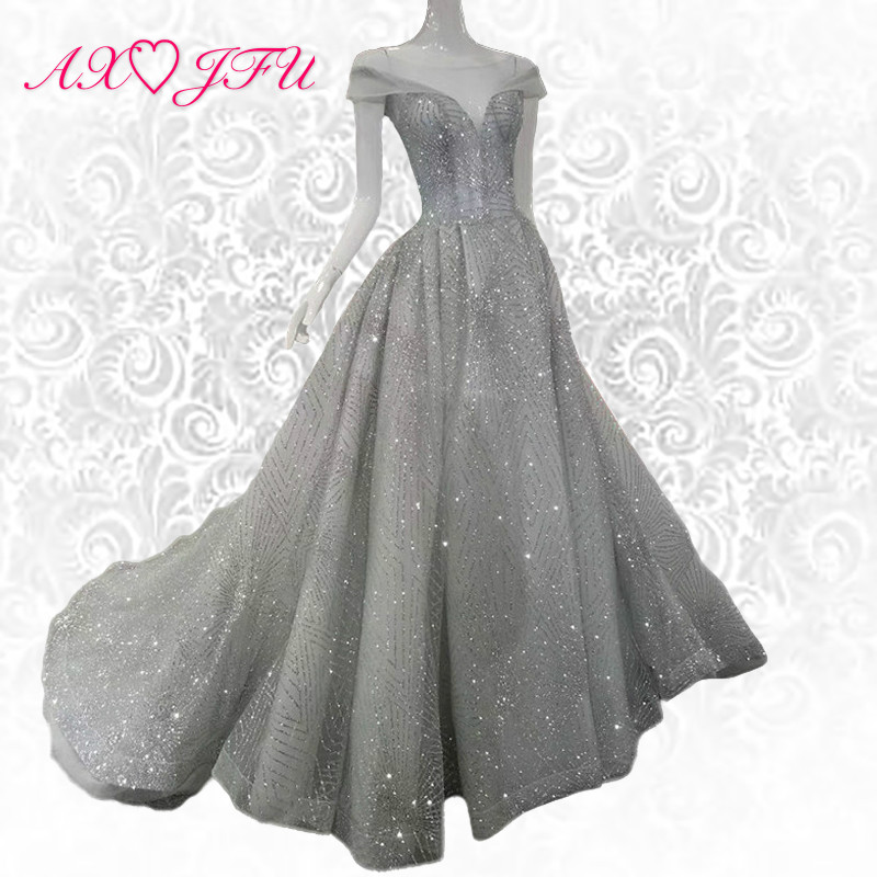 AXJFU grey lace evening dress Vintage shinning princess evening dress silver vintage evening dress 100% real photos 599