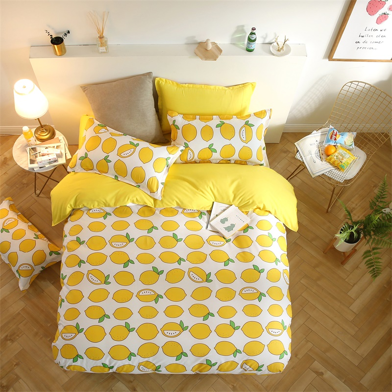 2018 Summer Cotton Bedding Sets Ywllow lemon Bed Sheets Quilt/duvet Cover Pillowcase King Queen Full Twin