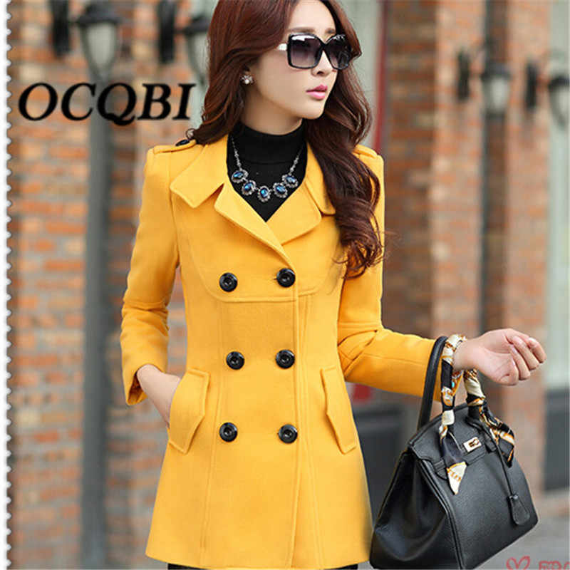 2018 Winter Wool Yellow Coat Elegant Casual Fashion Designer Overcoat High Quality Clothes