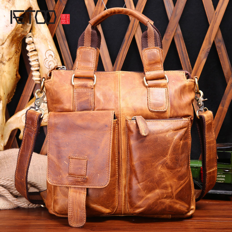 AETOO genuine leather men bag crazy horse leather men's handbags casual business shoulder bag briefcase messenger bag laptop цены