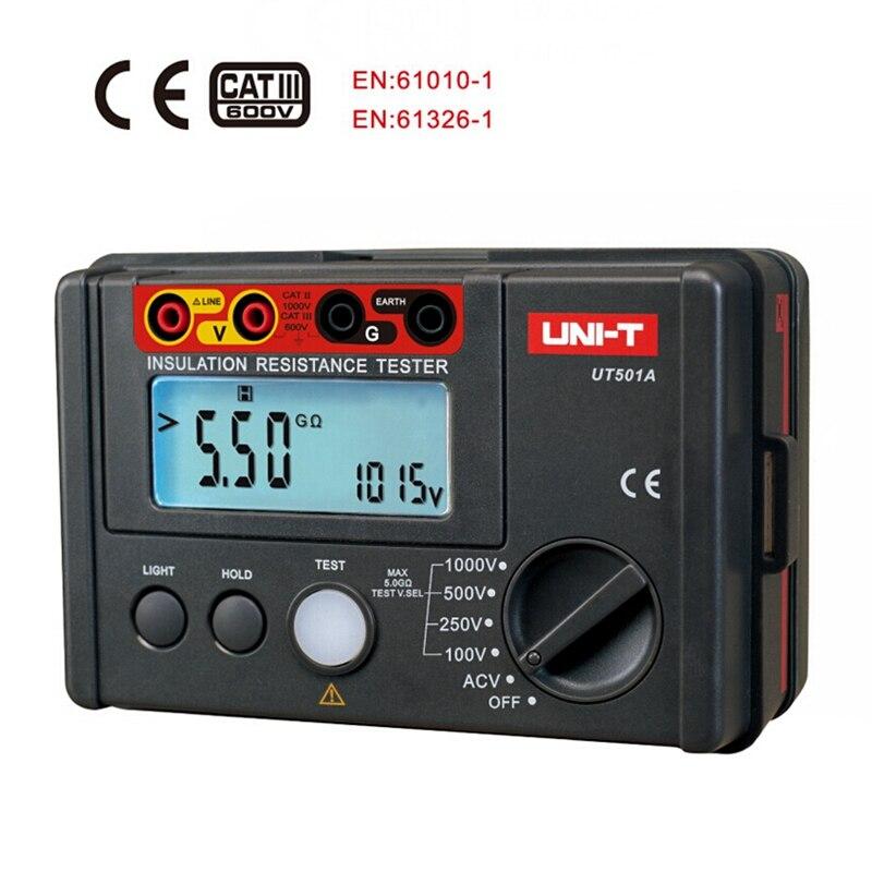 UNI-T UT501A 1000 v Numérique Mégohmmètre Isolation Résistance de Terre testeur Voltmètre w/LCD Rétro-Éclairage
