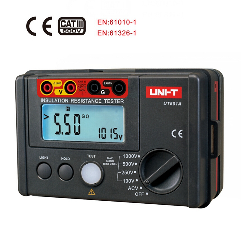 UNI-T UT501A 1000V Digital Megohmmeter Insulation Ground Resistance meter Tester Voltmeter w/LCD Backlight
