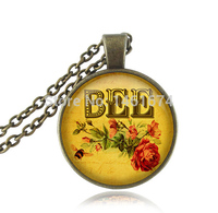 Flower Bee Necklace Letter Animal Pendant Honeybee Necklace Charm Bee Jewelry Picture Fashion Glass Cabochon Pendant