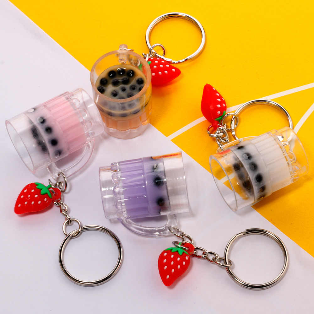 Creative Mini Soft Drink Keychain Coconut Milk tea Keychain Beverage Bubble Tea Acrylic Moving Keyring Girl Keychain Cute gift