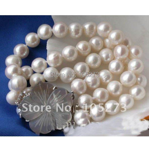 Stunning!3Row 8'inch AA 10-11MM Round Shaper Freshwater Cultured Pearl Bracelet Shell Flower Clasp Hot Sale Free Shipping FN2007