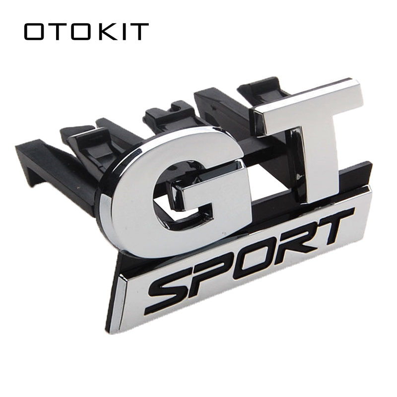 New Car-styling Sticker ABS Chrome GT SPORT Front Grille Badge Emblem Sticker For Volkswagen VW Polo Golf Passat B5 Touran Bora