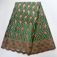 2018 Green African swiss voile lace high quality cotton lace african dresses for women swiss voile lace fabric with stones