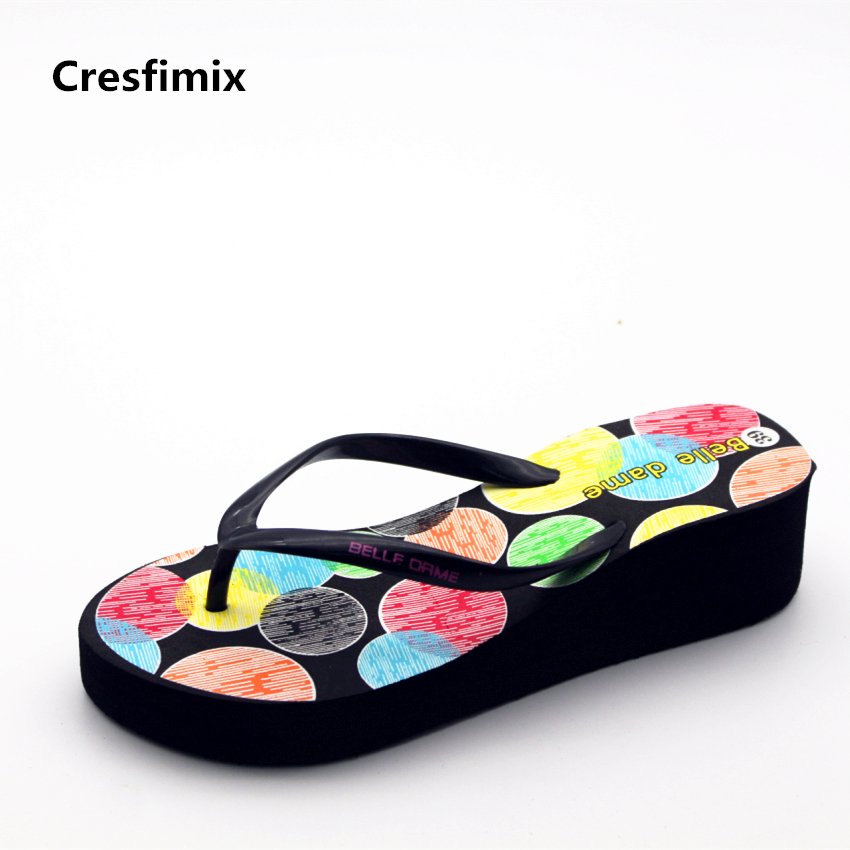 Cresfimix women casual 3cm heel comfortable flip flops lady cute pattern black beach flip flops female anti skid flip flops a594 cute doughnut pattern beach towel for women