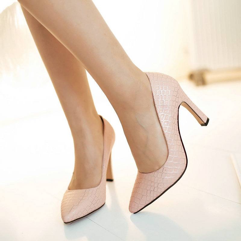 ФОТО Pointed Toe Red Sole Thin Heels 2016 New Shoes Woman High-heeled Dress Shoes Simple Elegant Pumps