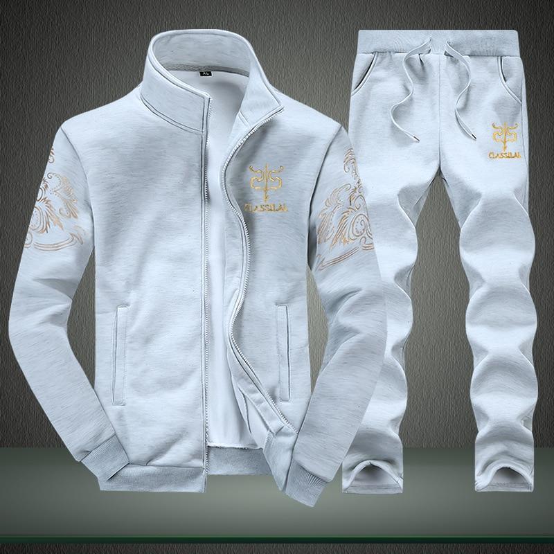 Mens Sportwear Sets Tracksuit Men Sweatshirts Casual Jackets Sweat Elastic Pant Set 2018 Autumn Coat + Pant Suit for Male S078