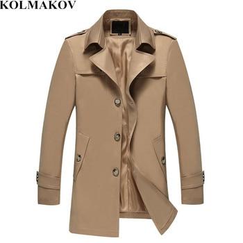 KOLMAKOV 2019 Men's Trench Coat Men Fashion Jackets Coats Mens Windbreaker Slim High Quality Khaki Casual Outerwear M-4XL