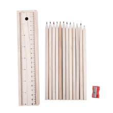 Wood Pencil Case Box Colour Pencils + Wooden Sharpener Ruler Sketching Set Art Artist School Drawing
