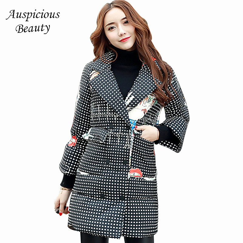 New Winter Women Cartoon Print Plaid Thicken Warm Wadded Jacket Woman Parkas Female Wadded Overcoat Long Cotton Coat CXM22 2017 new winter women warm hooded thicken slim wadded jacket woman parkas female ladies wadded overcoat long cotton coat cxm31