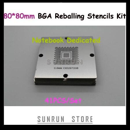 41PCS Set BGA Reballing Station Stencils 80 80mm Repairing Templates Dedicated For Laptop NotebbokFreeshipping
