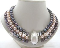 free shipping >>>>>193row 9mm natural black pink round FW pearl necklace