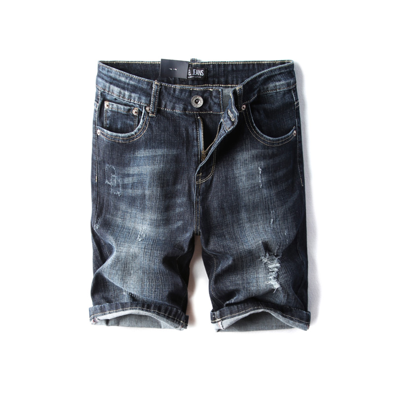 DSEL Brand Mens Jeans Shorts Summer Style Knee Length Stretch Casual Denim Shorts Slim Fit Elastic Ripped Short Jeans Size 29-38