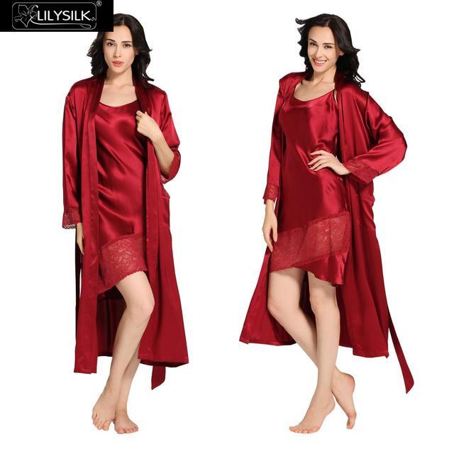 Lilysilk Silk Robe Sexy Nightgown Long Robes Set Sleepwear Claret 22 momme Womens Winter Nightwear Lingerie Night Dress Lace