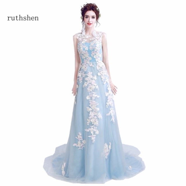 ruthshen Cheap Prom Dresses Real Photos Sleeveless Light Sky Blue Tulle Long  Party Evening Dress For Women Special Occasion 2018 23053035004c