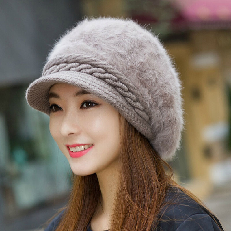Women New fashion Rabbit hair Hat Female Elegant Knitted cap Warm Knitting Winter Hats Skullies Beanies thicken cap princess hat skullies new winter warm hat wool leather hat rabbit hair hat fashion cap fpc018