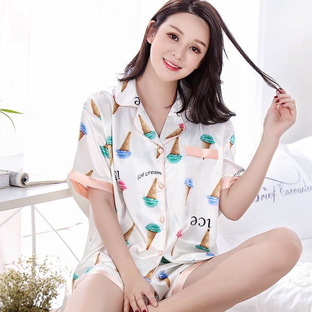 504b8c2b636f8 Silk Pajamas Sets Women Summer Short Sleeve Pyjamas Ice Cream Printed  Female Casual Tracksuit Plus Size 3XL Pijamas Mujer