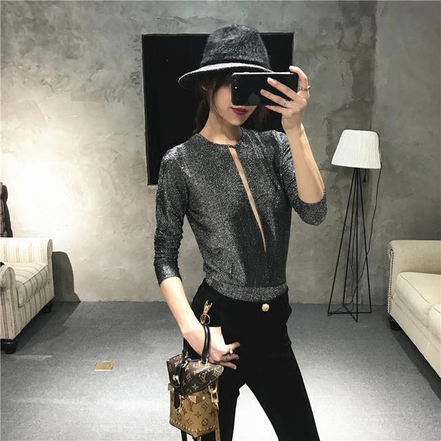 Señoras robar el centro de atención todo el orgullo sexy negro y plata BLING tanto profunda V Mono de manga larga mujeres Camisetas