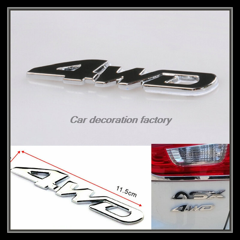 Car Styling car 4WD metal badge 3d sticker auto accessories for Mitsubishi ASX outlander 2008~~2017 hot sale 1pc longhorn hilux 900mm graphic vinyl sticker for toyota hilux decals badges detailing sticker car styling accessories