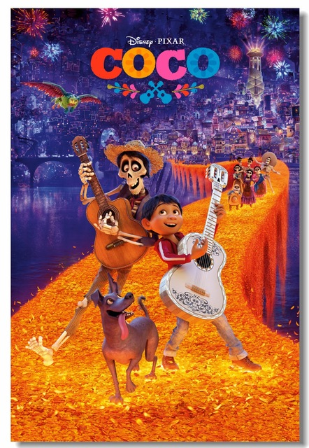 Custom Canvas Wall Mural Coco Poster The Day Of Death Stickers Cartoon Movie Wallpaper